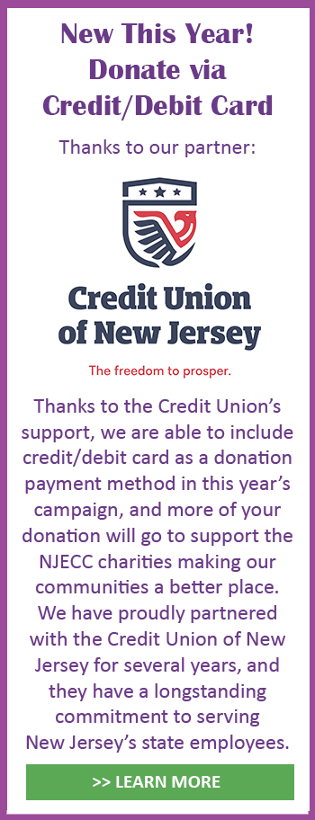 New! Donate via credit/debit card thanks to our partner CU of NJ
